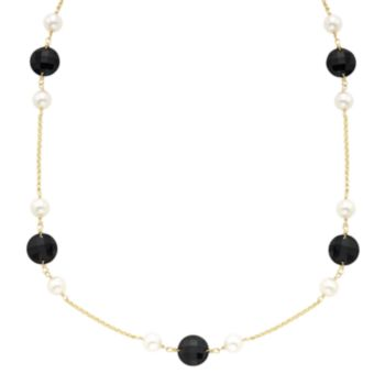 Onyx & Freshwater Cultured Pearl 14k Gold Station Necklace