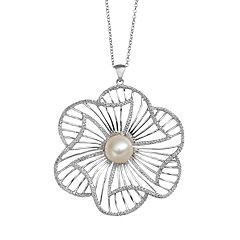 Freshwater Cultured Pearl Sterling Silver Flower Pendant Necklace