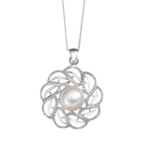 Freshwater Cultured Pearl Sterling Silver Openwork Pendant Necklace