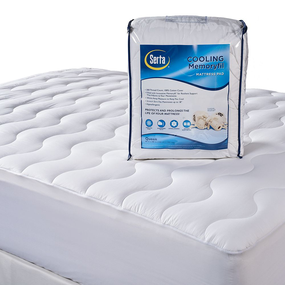 Serta 300-Thread Count Cooling Memory Fiber Deep-Pocket Mattress Pad - 300-Thread Count Cooling Memory Fiber Deep-Pocket Mattress Pad
