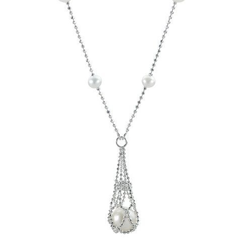 PearLustre by Imperial Freshwater Cultured Pearl Sterling Silver Imperial Lace Drop Necklace