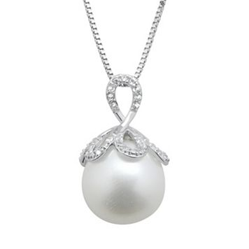 PearLustre by Imperial Freshwater Cultured Pearl & White Topaz Sterling Silver Pendant Necklace