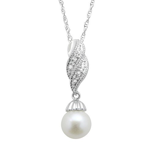 PearLustre by Imperial Freshwater Cultured Pearl & White Topaz Sterling Silver Twist Pendant Necklace
