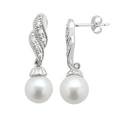 PearLustre by Imperial Freshwater Cultured Pearl & White Topaz Sterling Silver Twist Drop Earrings