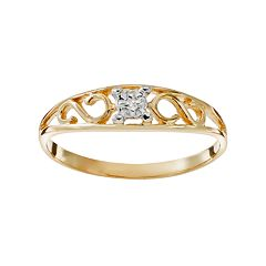 Charming Girl 14k Gold Scroll Ring - Kids