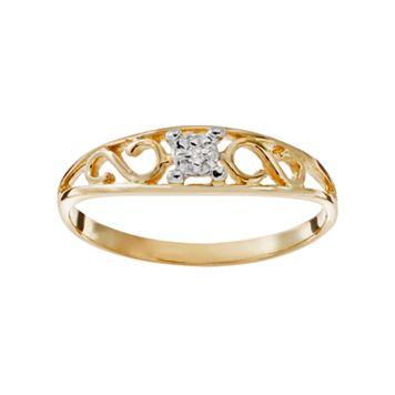 Charming Girl 14k Gold Scroll Ring - Kids