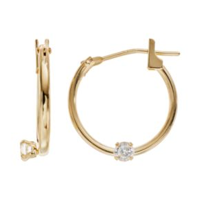 Charming Girl 14k Gold Cubic Zirconia Hoop Earrings - Made with Swarovski Zirconia - Kids