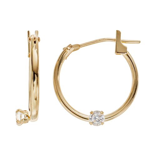 Charming 14k Gold Cubic Zirconia Hoop Earrings Made With Swarovski Kids