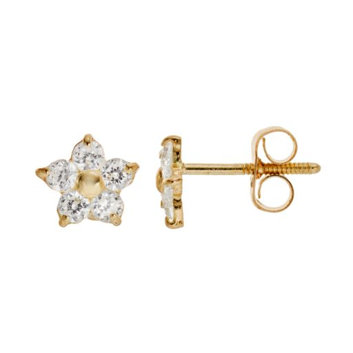 Charming Girl 14k Gold Star Stud Earrings - Made with Swarovski Cubic Zirconia - Kids