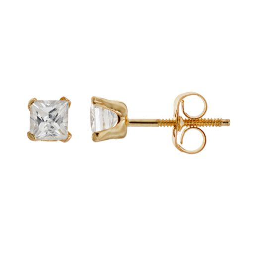 Charming Girl 14k Gold Stud Earrings - Made with Swarovski Zirconia - Kids