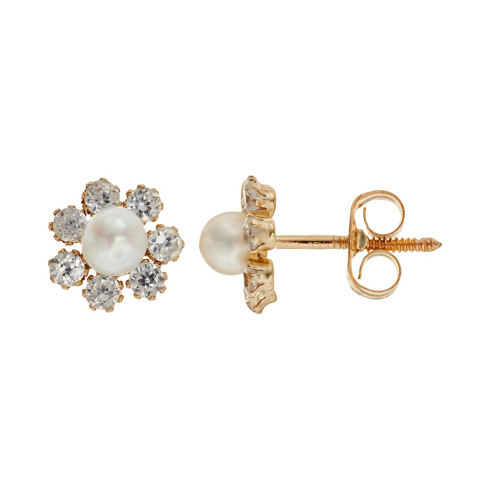 Charming Freshwater Cultured Pearl 14k Gold Flower Stud Earrings Made With Swarovski Cubic Zirconia Kids