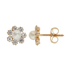 Charming Girl Freshwater Cultured Pearl 14k Gold Flower Stud Earrings - Made with Swarovski Cubic Zirconia - Kids