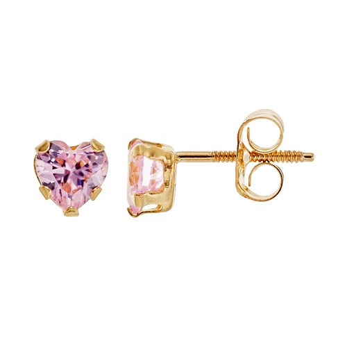 Charming Girl 14k Gold Heart Stud Earrings - Made with Swarovski Zirconia - Kids