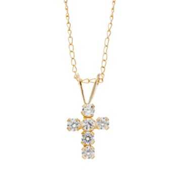 Charming Girl 14k Gold Cross Pendant Necklace - Made with Swarovski Cubic Zirconia - Kids