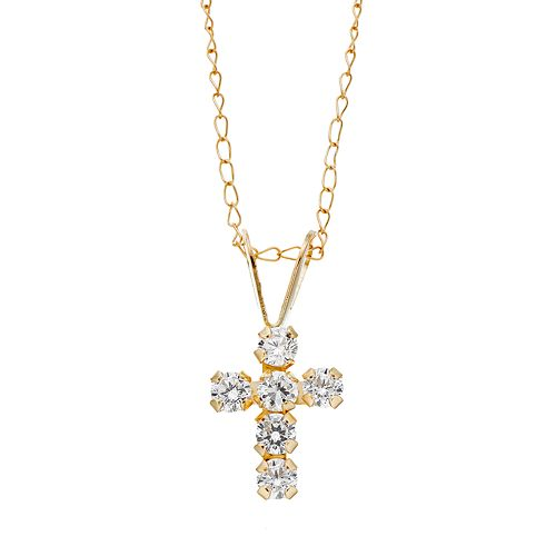 4dfd23561 Charming Girl 14k Gold Cross Pendant Necklace - Made with ...