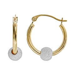 Charming Girl 14k Gold & Sterling Silver Bead Hoop Earrings - Kids