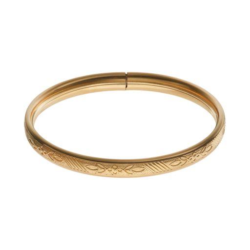 Charming Girl 14k Gold-Filled Flower Bangle Bracelet - Kids