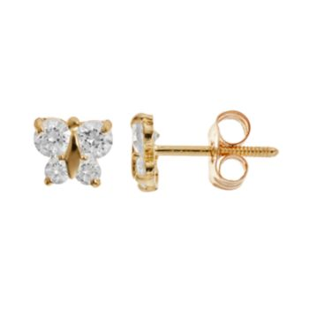 Charming Girl 14k Gold Butterfly Stud Earrings - Made with Swarovski Cubic Zirconia - Kids