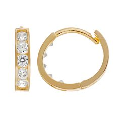 Charming Cubic Zirconia Girl 14k Gold Hoop Earrings - Made with Swarovski Zirconia - Kids