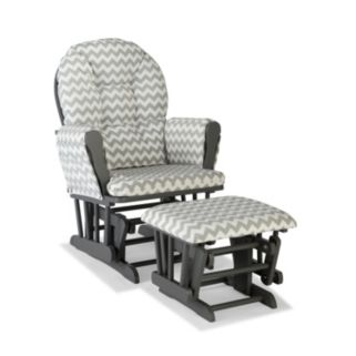 Stork Craft Chevron Hoop Custom Glider Chair and Ottoman Set