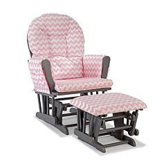 Stork Craft Chevron Hoop Custom Glider Chair & Ottoman Set