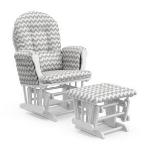 Stork Craft Chevron Hoop Custom Glider Chair and Ottoman Set