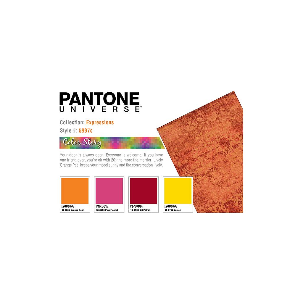 PANTONE UNIVERSE™ Expressions Ornate Orange Floral Rug