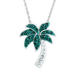 DiamonLuxe Crystal Sterling Silver Palm Tree Pendant Necklace - Made with Swarovski Crystals