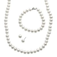 PearLustre by Imperial Freshwater Cultured Pearl Sterling Silver Necklace, Bracelet & Stud Earring Set