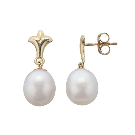 PearLustre by Imperial Freshwater Cultured Pearl 10k Gold Fleur-de-Lis Drop Earrings