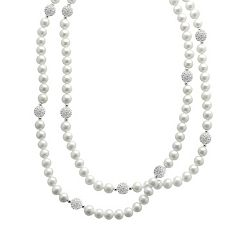 PearLustre by Imperial Freshwater Cultured Pearl & Crystal Sterling Silver Station Necklace