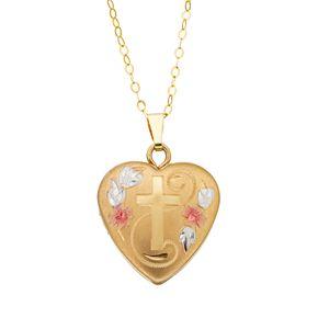 Charming Girl Kids' 14K Gold Filled Tri-Tone Heart & Cross Locket Necklace