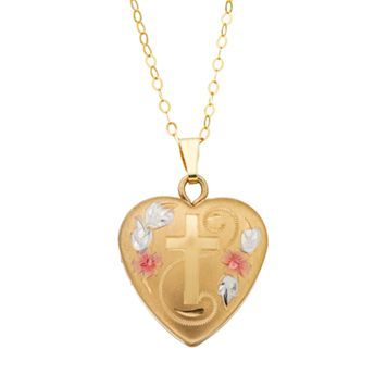Charming Girl 14k Gold Tri-Tone Heart & Cross Locket Necklace