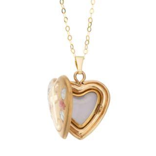 Charming Girl Kids' 14k Gold Tri-Tone Heart & Cross Locket Necklace