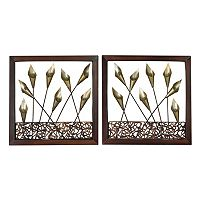 Sterling 2 pc ''Delph'' Tulips Framed Metal Wall Art Set