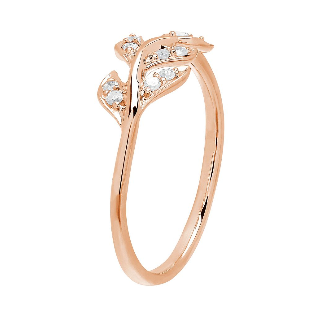 1/10 Carat T.W. Diamond 10k Rose Gold Leaf Ring