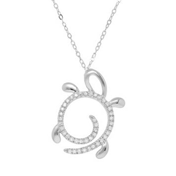 1/10 Carat T.W. Diamond 10k White Gold Turtle Pendant Necklace