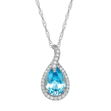 Blue Topaz & 1/10 Carat T.W. Diamond 10k White Gold Teardrop Halo Pendant Necklace