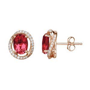 Ruby & 1/8 Carat T.W. Diamond 10k Rose Gold Halo Button Stud Earrings