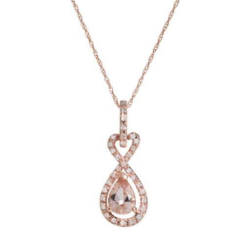 Morganite & Diamond Accent 10k Rose Gold Infinity & Heart Pendant Necklace