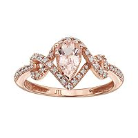 Morganite & 1/8 Carat T.W. Diamond 10k Rose Gold Teardrop Ring