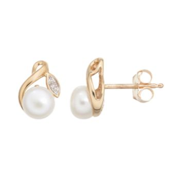 Freshwater Cultured Pearl & Diamond Accent 10k Gold Stud Earrings