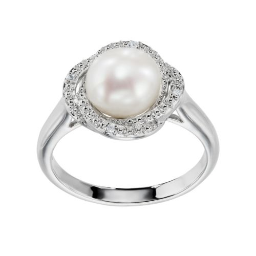 Freshwater Cultured Pearl & Diamond Accent Sterling Silver Halo Ring