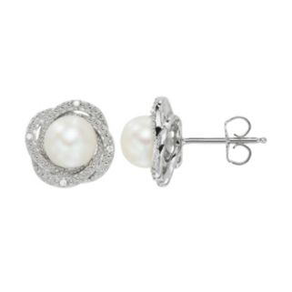 Freshwater Cultured Pearl & Diamond Accent Sterling Silver Halo Button Stud Earrings