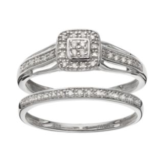 Always Yours Sterling Silver 1/10 Carat T.W. Diamond Square Halo Engagement Ring Set