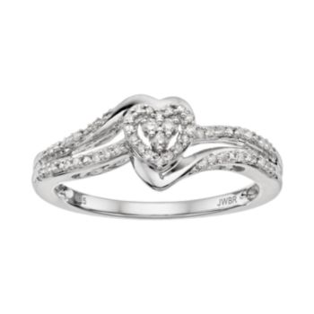 Always Yours Sterling Silver 1/6 Carat T.W. Diamond Heart Engagement Ring