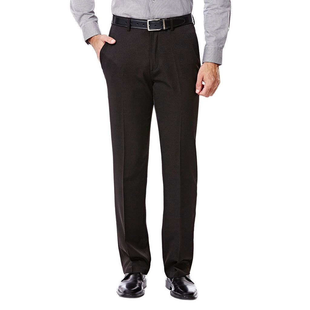 Men's Haggar Straight-Fit Travel Performance Black Gabardine Suit Pants
