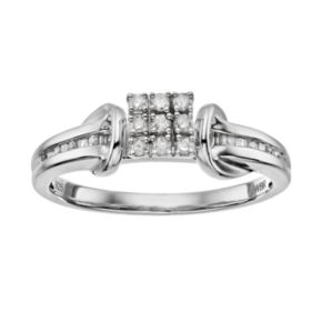 Always Yours Sterling Silver 1/6 Carat T.W. Diamond Square Engagement Ring