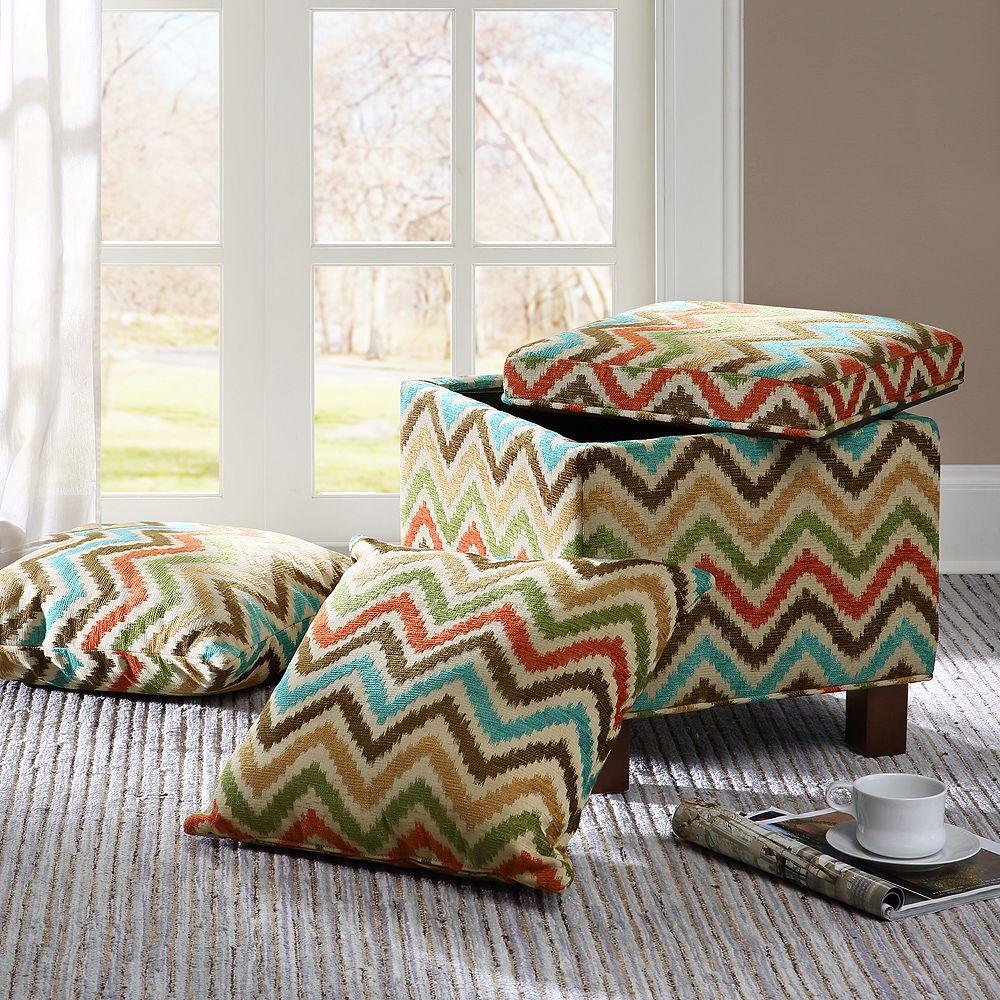 Amazing Madison Park Allison Chevron Storage Ottoman Pillows Set Andrewgaddart Wooden Chair Designs For Living Room Andrewgaddartcom