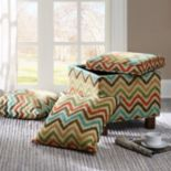 Madison Park Allison Chevron Storage Ottoman & Pillows Set